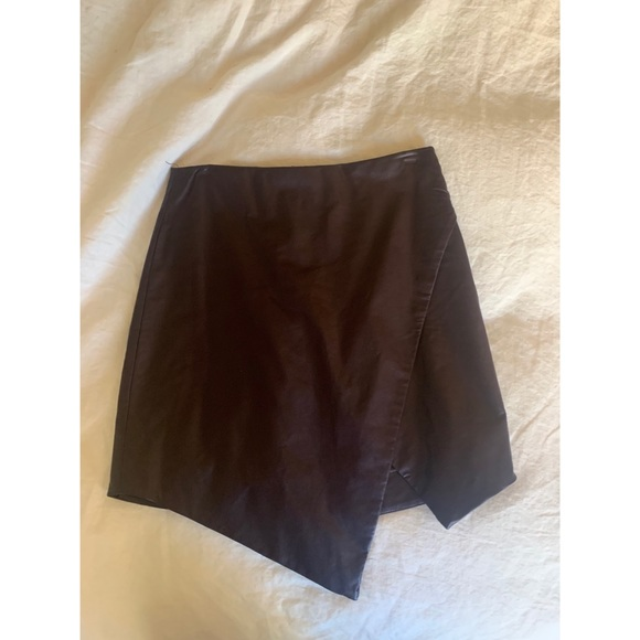 Olivaceous Dresses & Skirts - Olivaceous - Brown leather skirt with slit